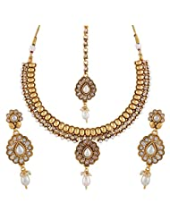 Accessher Rajwadi Styled Royal Floral Copper Moti Antique Necklace
