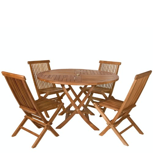Teak 5 pc. Round Patio Table and Folding Chair Set - Patio and Garden Furniture!