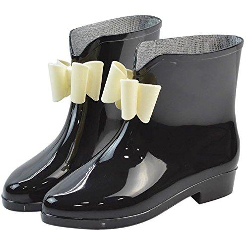Da donna impermeabile in gomma antiscivolo Rain Boot Fibbia Caviglia Alta pioggia Scarpe, donna, Black Bowknot-1, 7 B(M) US