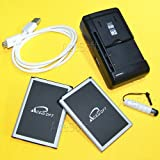 AceSoft 2x 4000mAh Replacement Battery Multi Function Desktop Wall USB/AC Charger Micro Sync Data Cable Touch Pen for AT&T LG G Vista 2 H740 Phone (Color: as shown in picture)