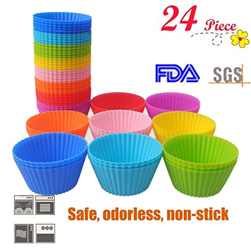 HMLifestyle- Non Stick Silicone Baking Cups 24pcs Baking Muffin Cups Molds,Vibrant Round Reusable Truffle Cups Cupcake Liners for Party,Wedding- Cupcake Holders Gift set(8 Random color,Heat Resistant)