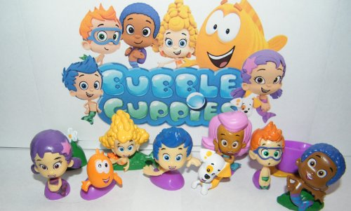 Nickelodeon Bubble Guppies Deluxe Figure Set Toy Playset of 12 with Gil, Molly, Bubble Puppy, Mr.Grouper, Guppies and More! - 1