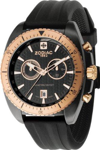 Zodiac Men's Swiss Speed Dragon Chronograph , Bronze Gold Tone Bezel, Black Rubber Strap Watch & Tachymeter ZO5510