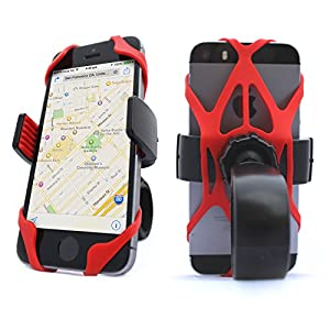 Vibrelli Universal Bike Phone Mount Holder. Bicycle Handlebar (& Motorcycle) Cell Phone Cradle Adjustable to Fit Any Smart Phone (iPhone, Galaxy, Nokia, Motorola...), iPhone 6..