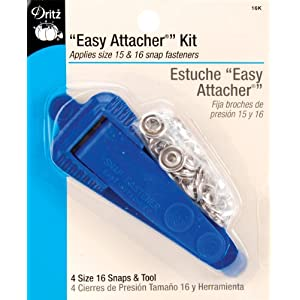 Image: Dritz Snap Fastener Attacher Kit - Easy Attacher - Includes Tool and 4 Size 16 Snaps.