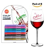 CulinArt Wine Glass Markers - Dry Erase Ink - Set of 8 Pens - Easily Label Cups or Bottles - Share a Fun Experience with Family and Friends - Washable by Hand or Dishwasher - Great Gift for Parties