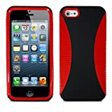 Lumii Ark TWIST Series Hybrid PC + TPU 2 in 1 Protector Skin Cover Case for Apple iPhone 5 - Red/Black