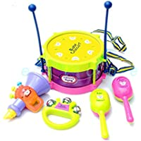 Viment Childrens Kidi Beats Kids Drum Set (Joy Drum, 2 Sand Hammer, Rattle, Horn) (Multi Color Random Delivery)