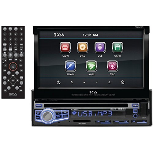 BOSS AUDIO BV9973 Single-DIN 7 inch Motorized Touchscreen DVD Player Receiver, Wireless Remote