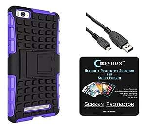 Chevron Hybrid Military Grade Dual Armor Kick Stand Back Cover Case for Xiaomi Mi 4i with HD Screen Guard & Data Cable (Purple)