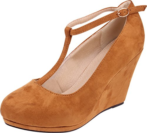 Enimay Women's 4 Inch Wedge Heel Vintage Pin Up Style T Strap Fashion Dress Shoe 0