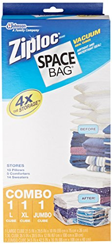 Space Bag BR-86123-4 Vacuum-Seal Cube-Shaped Storage Bags, Set of 3, Large, Extra Large, and Jumbo