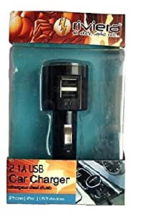 Riviera 2.1A USB Two Port Car Charger with Cable For Adcom Thunder A-350i