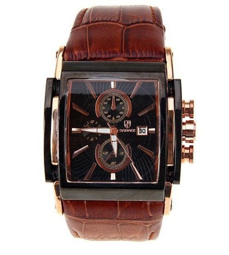 New Brand Luxury Men Square Dial Genuine Cowhide Leather Quartz Watches Hours Clock Date Military Japan Movement Wrist Watch - Brown