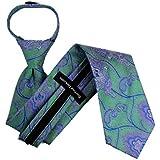 Zipper Pattern Necktie - Green Pink Blue