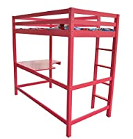 FoxHunter Childrens High Sleeper Cabin Wooden Frame Bunk Bed With Desk Kids Single 3FT Pink No Mattress New