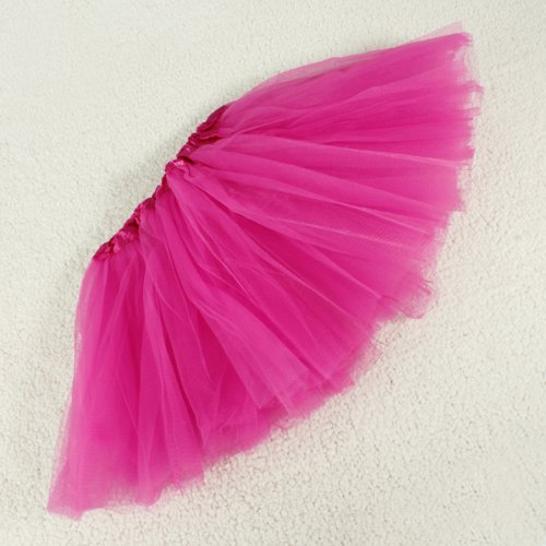 Hot pink Girls Tulle Ballet 3-Layered Tutu Skirt Fairy Princess Costume/Ballerina
