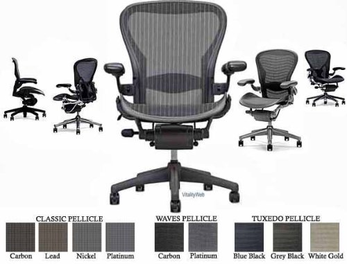 Aeron(R) Chair Highly Adjustable Model with Graphite Frame Classic Carbon with Lumbar Support Size C