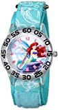 Disney Kids' W001189 Time Teacher Ariel Watch With Printed Blue Nylon Band