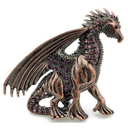 Amethyst Vintage REPRO Crystal Flying Dragon Pin Brooch