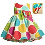 Bonnie Baby Large Dots Birthday Dress with Headband, 12 Months