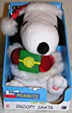 "Peanuts 8"" Plush Christmas Snoopy Santa Animated Musical Doll Holding Present"