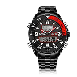 GOHUOS Men's Sport Outdoors Analog Digital Week Date Luminous Stainless Steel Bracelet Wrist Watch Red