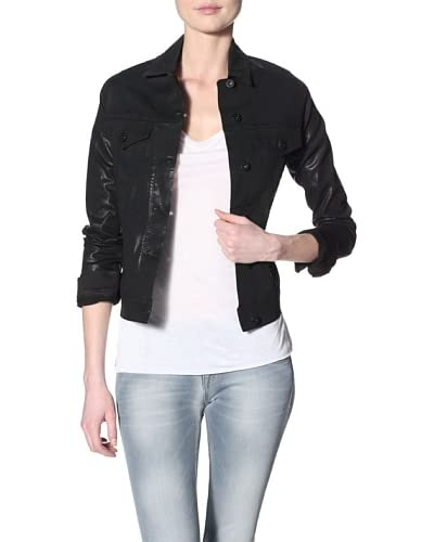 James Jeans Women's Jean Coated Jacket  - Black