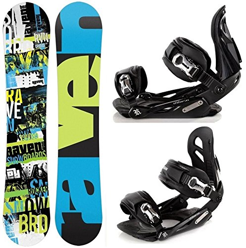 Snowboard Set: Snowboard Raven Grunge Green Carbon + Bindung Raven s250 Black M/L