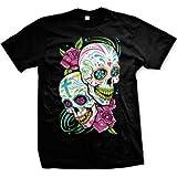 Sugar Skulls With Roses Men's T-shirt (Black, 3X-Large)