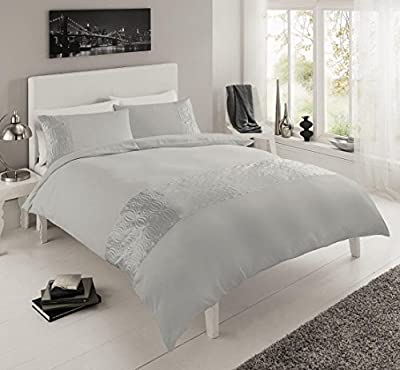 Pure Luxury Double Embroidered Duvet Quilt Cover Bedding Set Pillowcases Silver