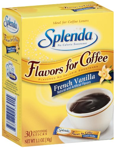 Splenda No Calorie Sweetener, Flavor Blends for Coffee, French Vanilla, 30-Count Boxes (Pack of 6)