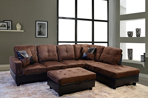 Lifestyle Furniture Avellino Right Hand Facing Sectional, Dark Brown