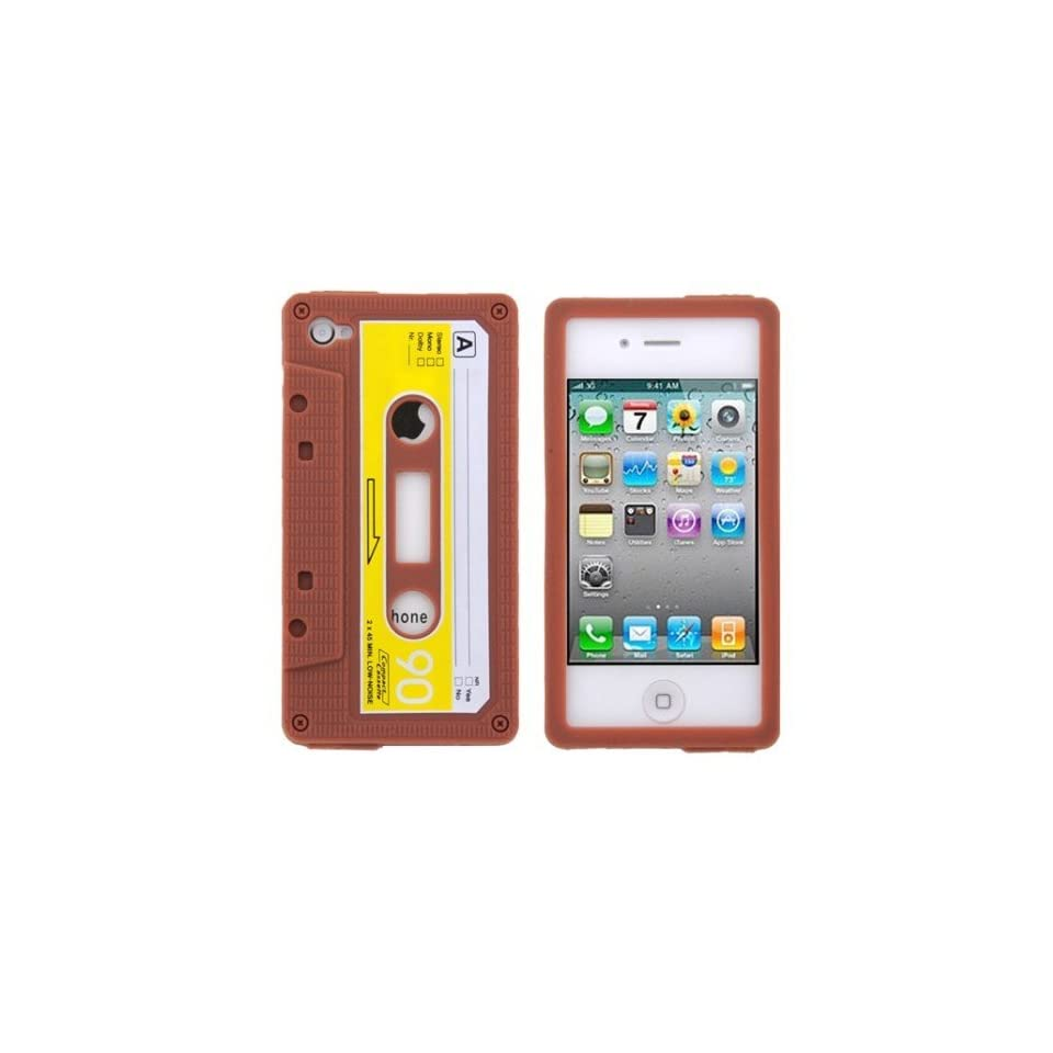 Brown Cassette Tape Design Soft Silicone Skin Gel Cover Case for Verizon AT&T Sprint Apple Iphone 4 4S + Microfiber Pouch Bag