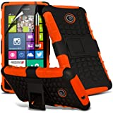 (Orange) Nokia Lumia 635 Case Brand New Protective Double Layer Impact Shock Proof Stand Hard Back Cover Including Retractable Touch Screen Stylus Pen & LCD Touch Screen Protector Guard By Fone-Case