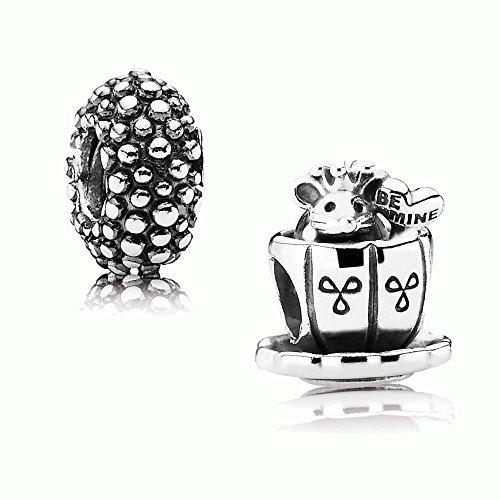 Original PANDORA Geschenkset 925er Sterling Silber - 1 Silber Element Maus in der Tasse 791107 und 1 Silber Zwischenelement Punkte 790981