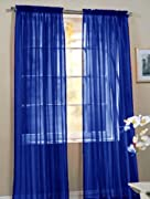 2 Piece Beautiful Sheer Window Royal Blue Elegance Curtains/drape/panels/treatment 60