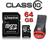 Kingston 64GB Micro SDXC Memory Card for Samsung Galaxy S5, S5 Mini, Galaxy Note 4, HTC One Mini 2, HTC Desire 610, HTC Desire 816, HTC One Max, Sony Xperia M2, Sony Xperia Z1 Compact, HTC The New HTC One (M8), Sony Xperia Z Ultra, Sony Xperia Z2, Sony X