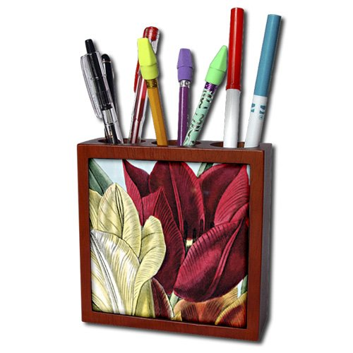 PS Vintage - Vintage Tulip Flowers - 5 inch tile pen holder (ph_203816_1)