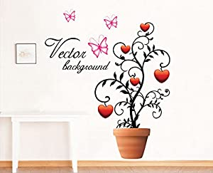 Romantic Heart Potted And Butterflies Wall Decals Living Room Bedroom