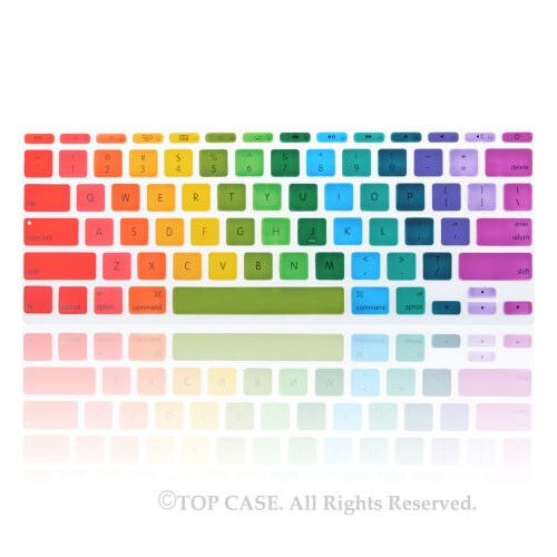 "Topcase Keyboard Silicone Cover Skin For New Macbook Air 11"" Model: A1465 + Topcase Mouse Pad (New Macbook Air 11"" Model:A1465, Rainbow-2)"