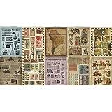 Washi Masking Tape 10 Sheets Korea Vintage Sticker Set - Paper Sticker Set - Polaroid Deco Sticker