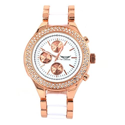 Branded Fashion Ladies Watch   Womens Watch at Discounted Sale Price - Rose Gold & White Watch with Crystals