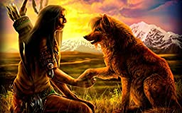 Hand Painted Native American Indian and Wolf Oil Painting Canvas Art Replica