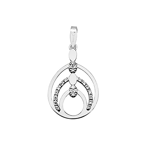 Teardrop pendant 18k white gold cubic zirconia bands [AA4887]