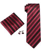 landisun 636 VRAI rouge noir Stripes Homme Soie Ensemble:Cravate Boutons De Manchettes Mouchoir