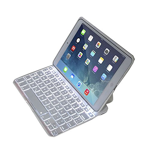 """Iberry(Tm) Ultra-Thin Aluminum Folio Backlit Wireless Bluetooth Keyboard With Rgb Backlit Illumina Stand Leather Case Cover For Ipad 5 Air 9.7"""" Device - Support 7 Colors Backlight (White)"""