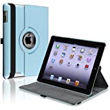 eForCity 360-degree Swivel Leather Case Compatible with Apple? iPad? 2 / iPad? 3rd Gen / The new iPad?/ iPad? with Retina display/ iPad? 4, Blue