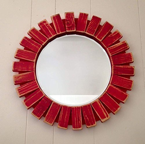 Sunburst Wall Mirror Round Wood Frame Red 22'' Flamingo Red 0