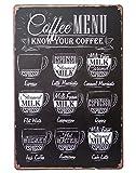 【 カフェ 好き 】 コーヒー アート お洒落 な ブリキ 看板 / お 部屋 リビング ダイニング 店舗 オフィス ガレージ 倉庫 のインテリア (タイプ1)
